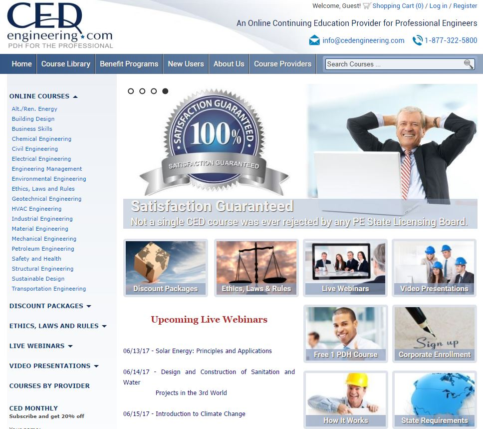 CED Engineering - Engineering Education website offering CEU / PDH credits online for completed webinar course material. eCommerce platform developed from scratch. www.cedengineering.com
