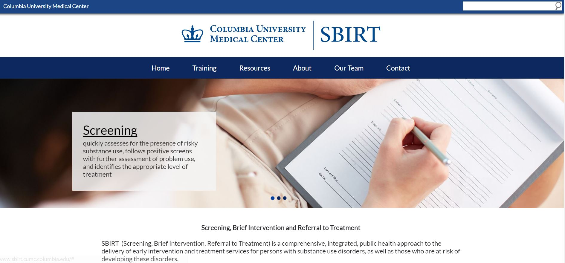 Columbia University SBIRT Training website for staff and faculty. Located in Manhattan. www.sbirt.cumc.columbia.edu