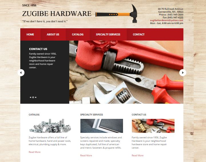 Zugibe Hardware Store, Garnerville NY. Local clients that have a hardware store for many decades in Rockland County NY. www.zugibehardware.com
